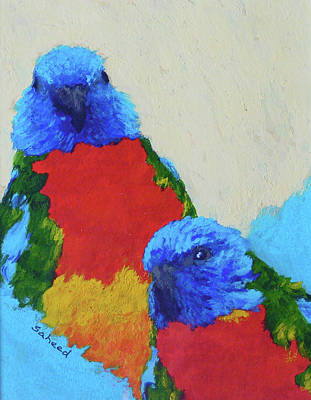 Poster featuring the painting Parrot Pair by Margaret Saheed