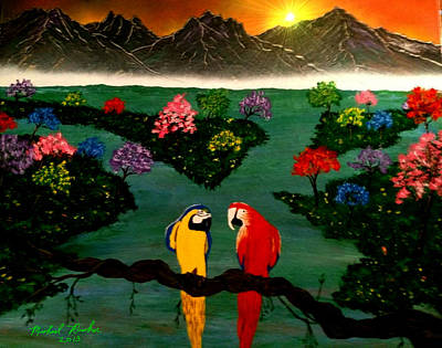 Poster featuring the painting Parrots by Michael Rucker