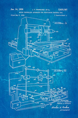 Parsons Numeric Machine Control Patent Art 1958 Blueprint Poster by Ian Monk
