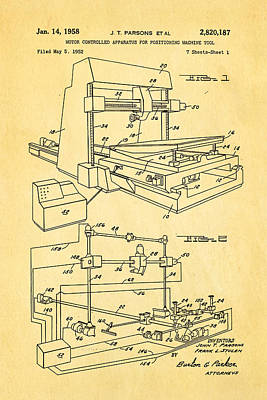 Parsons Numeric Machine Control Patent Art 1958 Poster by Ian Monk