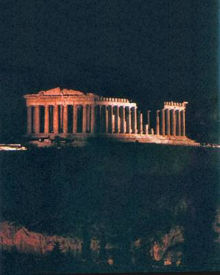 Parthenon At Night Poster by Troy Caperton