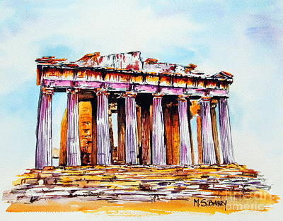 Poster featuring the painting Parthenon by Maria Barry