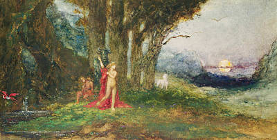 Pasiphae And The Bull, C.1876-80 Wc & Gouache On Paper Poster by Gustave Moreau