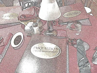 Poster featuring the digital art Pasqualino's Restaurant Setup by Angelia Hodges Clay
