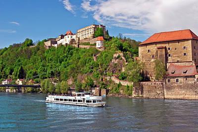 Passau, Germany, A Tourist Boat Sails Poster by Miva Stock