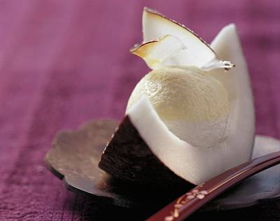 Passion Fruit And Coconut Cream In A Wedge Of Coconut Poster