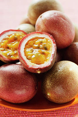 Passion Fruits (purple Granadilla), One Halved Poster