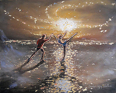 Passion To Perform Ice Skaters Golden Moment Poster by Carolyn Coffey Wallace