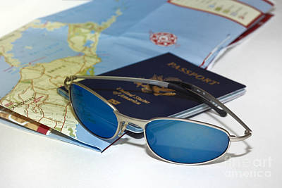 Passport Sunglasses And Map Poster