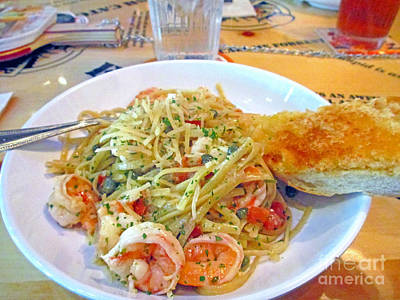 Pasta And Shrimp Poster by Kay Novy