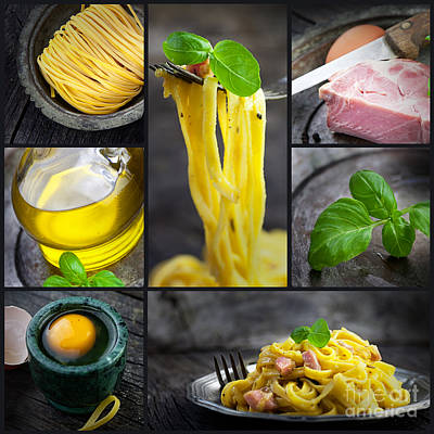 Pasta Carbonara Collage Poster by Mythja  Photography