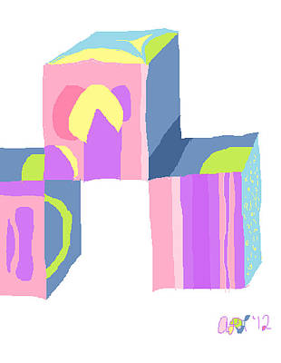 Poster featuring the painting Pastel Cubes by Anita Dale Livaditis