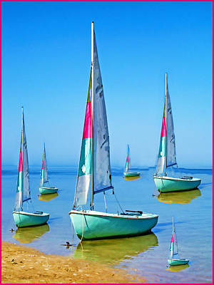 Poster featuring the photograph Pastel Sailboats by Oscar Alvarez Jr