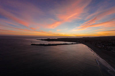 Pastel Sunset Above Santa Cruz Wharf Poster