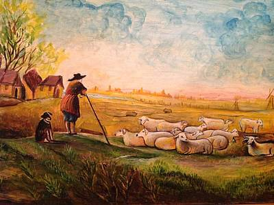 Poster featuring the painting Pastoral Landscape by Egidio Graziani