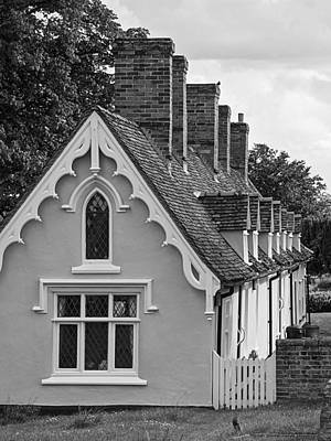 Pastoral Scene - Thaxted Almshouses Black And White Vertical Poster by Gill Billington