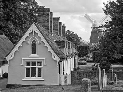 Pastoral Scene - Thaxted Almshouses Bw Poster by Gill Billington