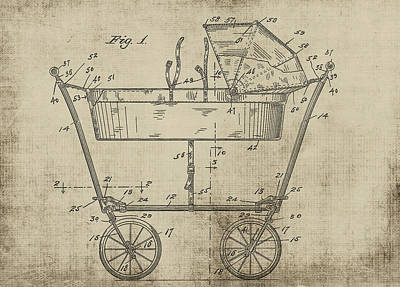 Patent Art Baby Carriage 1922 Mahr Yellow Poster
