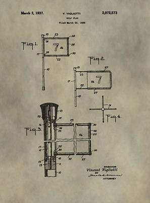 Patent Art Golf Flag Poster by Dan Sproul