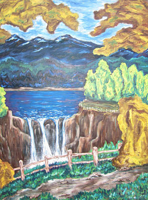 Poster featuring the painting Path By The Falls by Cheryl Pettigrew