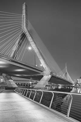 Path To The Leonard P. Zakim Bridge Bw Poster by Susan Candelario