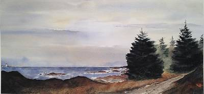 Path To Ucluelet In Winter   Victoria Island  Bc Watercolor  Poster