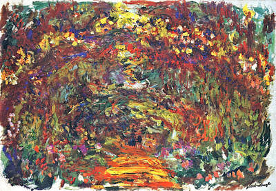 Path Under The Rose Trellises Giverny Poster