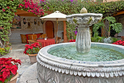 Patio And Fountain Poster
