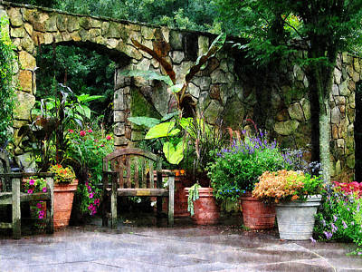 Patio Garden In The Rain Poster