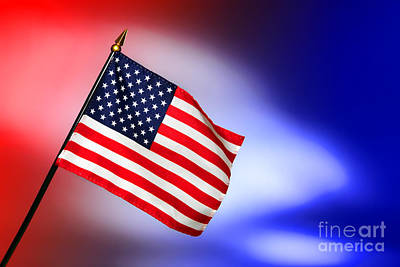 Patriotic American Flag Poster by Olivier Le Queinec