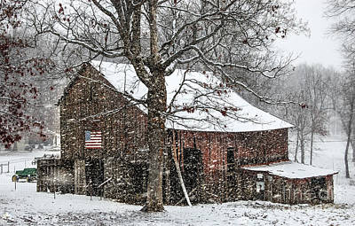 Patriotic Tobacco Barn Poster by Debbie Green