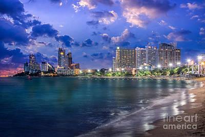 Pattaya City And Sea In Twilight Poster by Anek Suwannaphoom