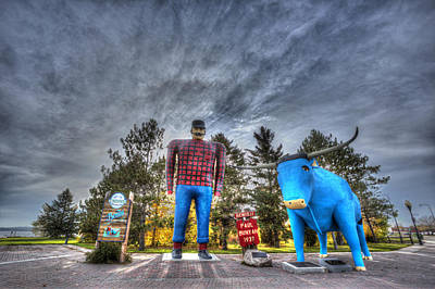 Paul Bunyan And Babe The Blue Ox In Bemidji Poster