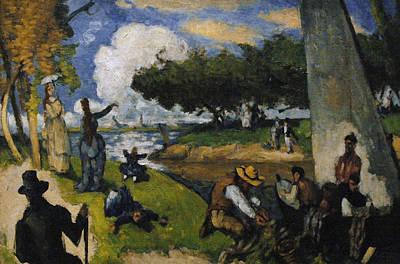 Paul Cezanne 1839-1906. The Fishermen Fantastic Scene. Ca. 1875 Poster