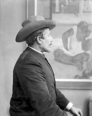 Paul Gauguin 1848-1903 In Front Of His Canvases, C.1893 Bw Photo Poster