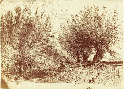 Paul Huet French, 1803 - 1869, Banks Of A River Bords De Poster
