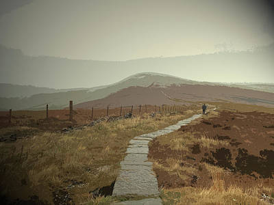 Paved Footpath Near Shining Tor, Climbing Towards Cats Tor Poster by Litz Collection
