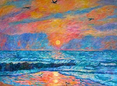 Pawleys Island Cormorant Sunrise Poster