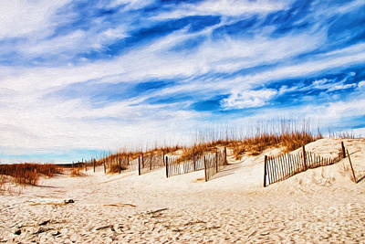 Pawleys Island South Carolina Sand Dunes And Fences Oil Painting Poster by Vizual Studio