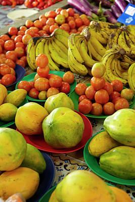 Pawpaw/papaya, Tomatoes And Bananas Poster by David Wall
