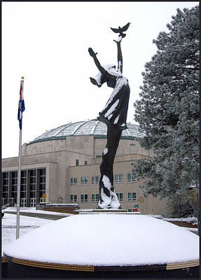 Peace Statue In Winter Poster