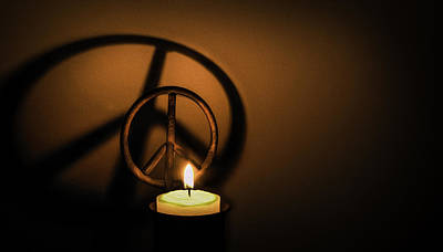 Peace Symbol Candle  Poster by Phil Cardamone