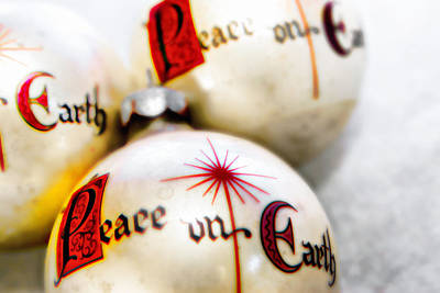 Poster featuring the photograph Antique Peace On Earth Christmas Decorations by Vizual Studio