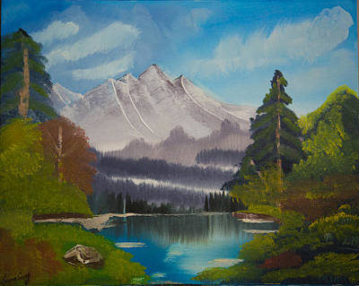 Peaceful Lake With Snow Mountain--original Landscape Oil Painting Poster by Laura SONG