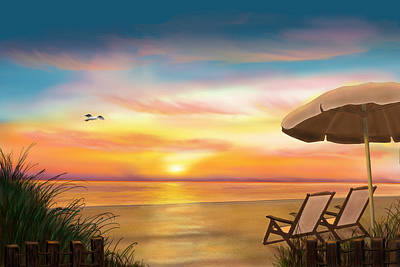 Peaceful Sunrise At Ocean City Maryland Beach Poster by Randy Hulshizer