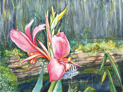 Peach Canna By The Pond Poster