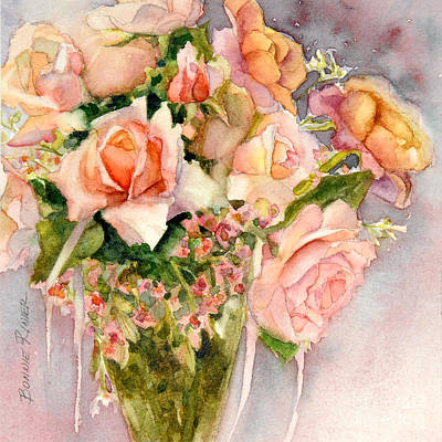 Peach Roses In Vase Poster by Bonnie Rinier