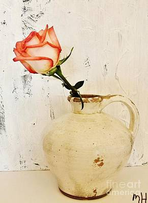 Peach Trim Rose In Pottery Poster by Marsha Heiken