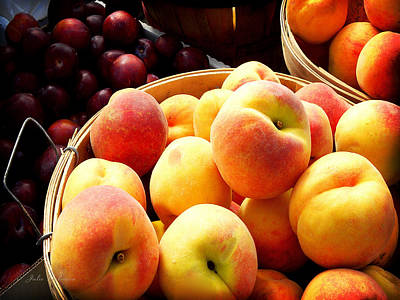 Peaches And Plums Farmers Market Poster by Julie Palencia