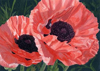 Poster featuring the painting Peachy Poppies by Lynne Reichhart